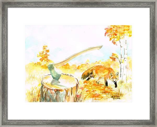 Fox In Autumn Framed Print