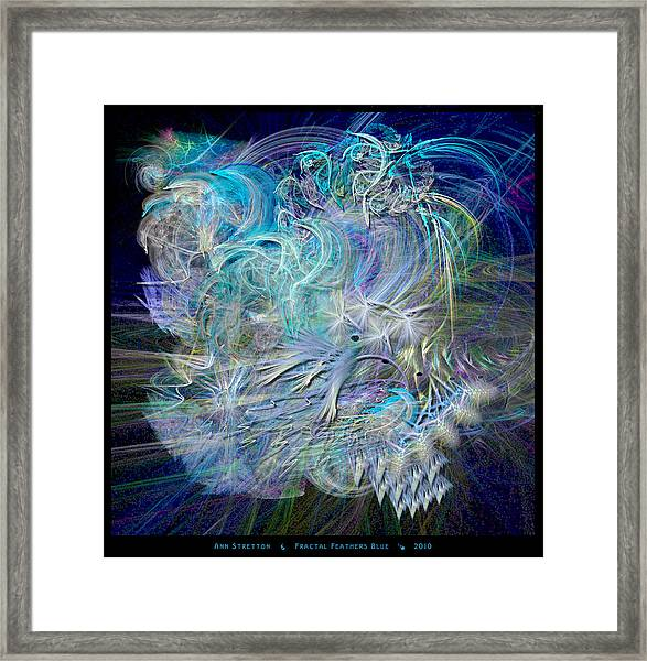 Fractal Feathers Blue Framed Print