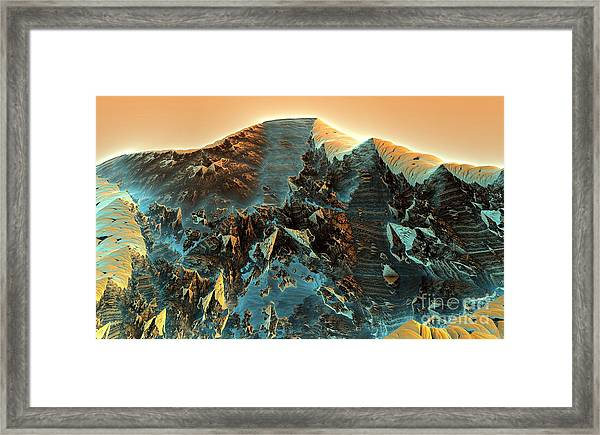 Fractal Moutain Framed Print by Bernard MICHEL