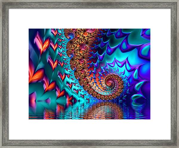 Fractal Sea Of Love With Hearts Framed Print