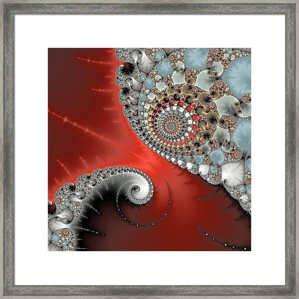 Fractal Spiral Art Red Grey And Light Blue Framed Print