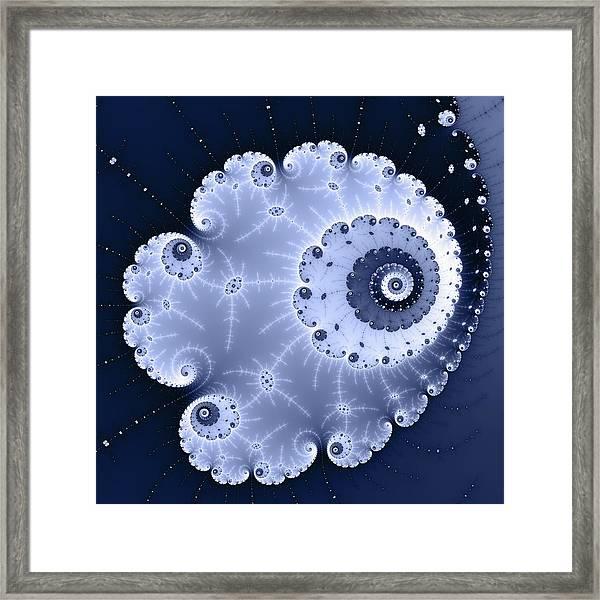 Fractal Spiral Light And Dark Blue Colors Framed Print
