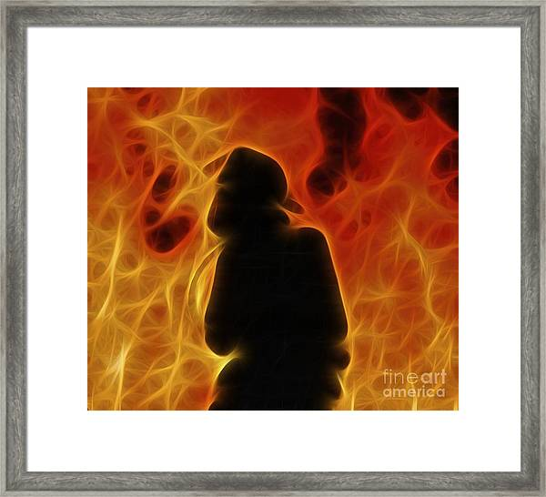 Fractalius Fiery Firefighter Framed Print