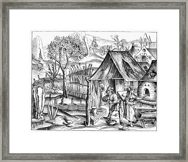 France Bread Making, 1517 Framed Print