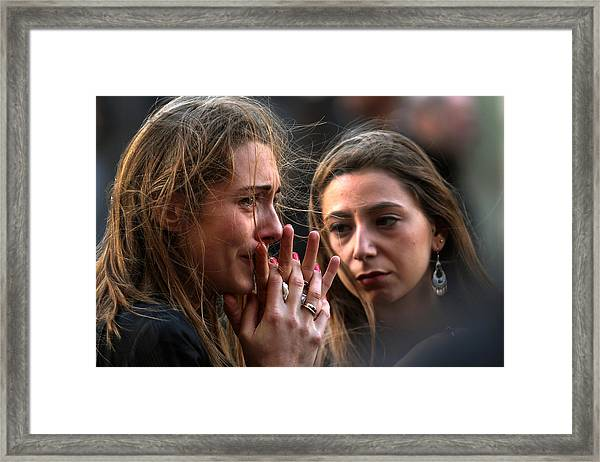 France Honours Attack Victims As The Nation Mourns Framed Print by Christopher Furlong