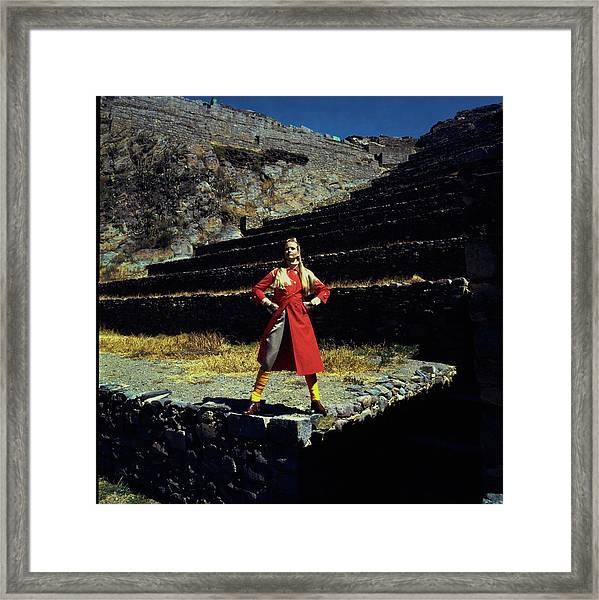 Francoise Rubartelli Wearing A Red Coat Framed Print