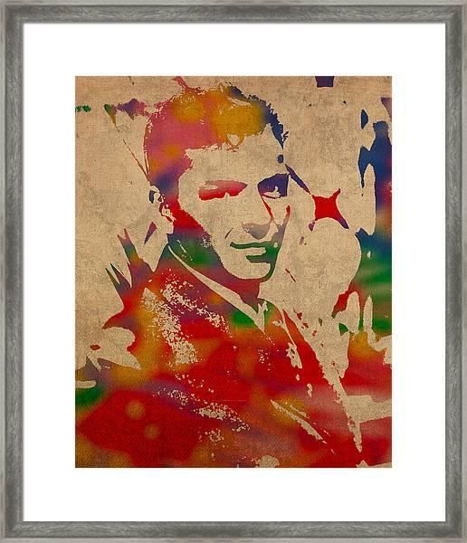 Frank Sinatra Watercolor Portrait On Worn Distressed Canvas Framed Print