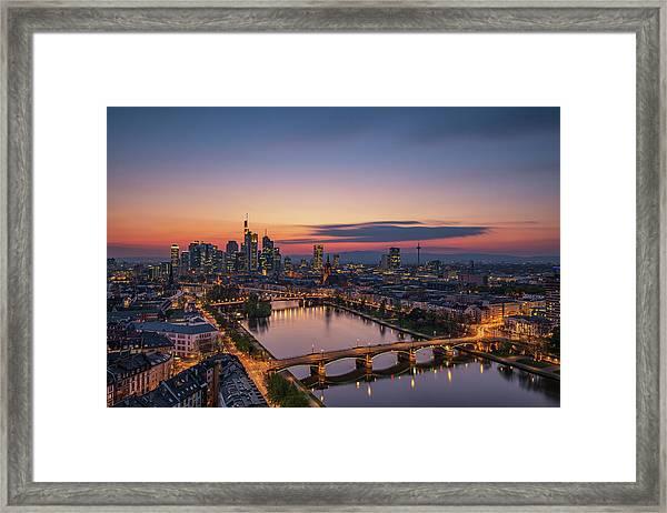 Frankfurt Skyline At Sunset Framed Print by Robin Oelschlegel