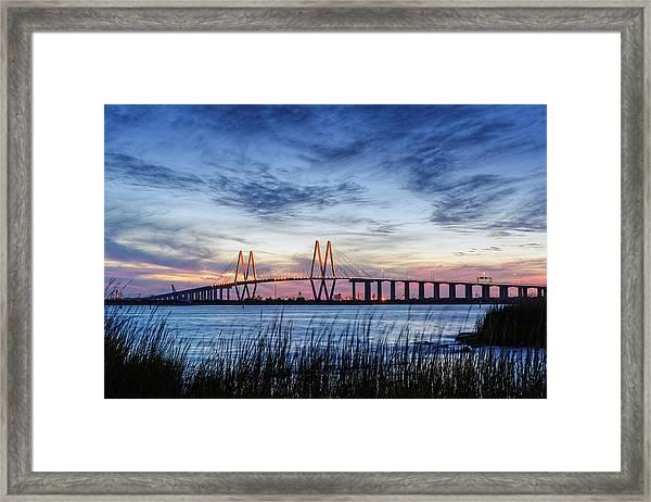 Fred Hartman Bridge At Twilight Hour Framed Print