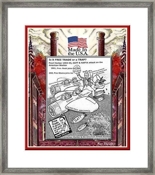 Free Trade Trap Framed Print by Ray Tapajna