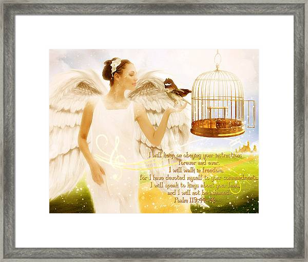 Freedom Song With Scripture Framed Print