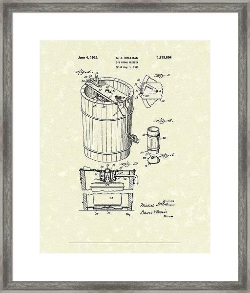 Freezer 1929 Patent Art Framed Print