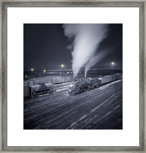 Freight Train About To Leave The Atchison Circa 1943 Framed Print
