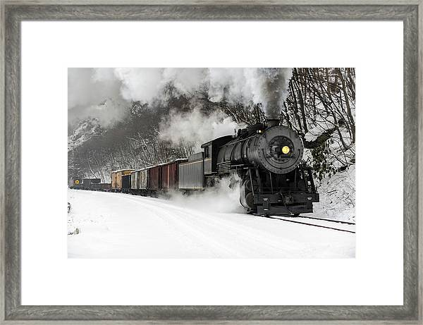 Freight Train With Steam Locomotive Framed Print