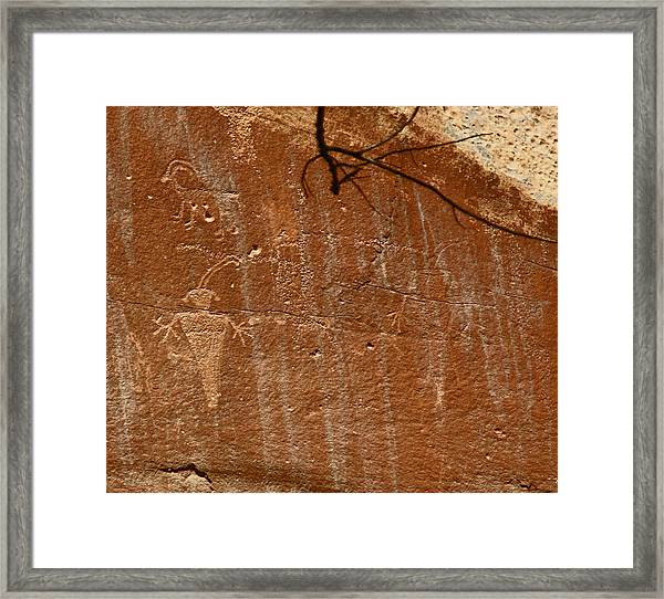 Fremont Culture Rock Art In Utah Framed Print