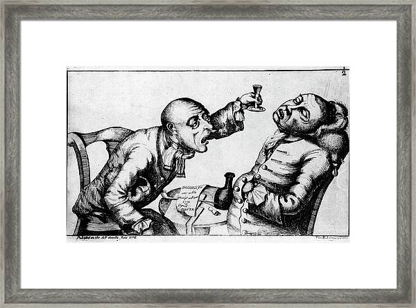 French 18th Century Engraving Of Two Alcoholics Framed Print by National Library Of Medicine/science Photo Library