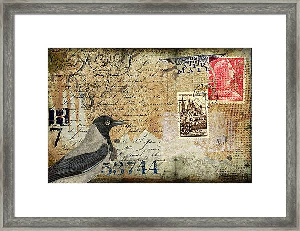 French Bird Postcard Framed Print