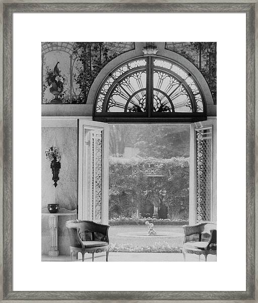 French Doors Leading To A Garden Framed Print