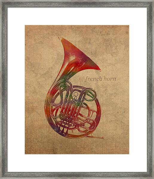 French Horn Brass Instrument Watercolor Portrait On Worn Canvas Framed Print