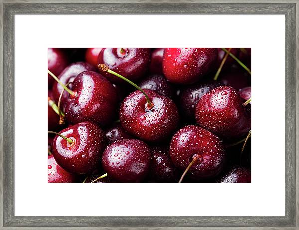 Fresh Ripe Black Cherries Background Framed Print