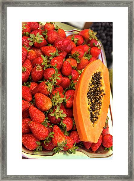 Fresh Tropical Fruit For Sale Framed Print by Jerry Ginsberg