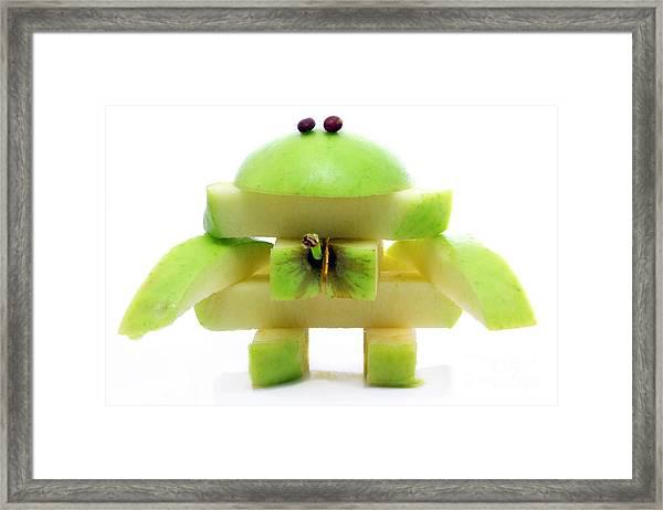 Friendly Apple Monster Made From One Apple Framed Print