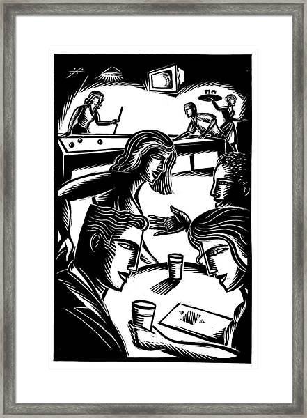 Friends At Bar Framed Print by Jerry Nelson