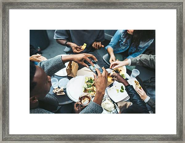 Friends In New York At Food Cart Framed Print by RyanJLane