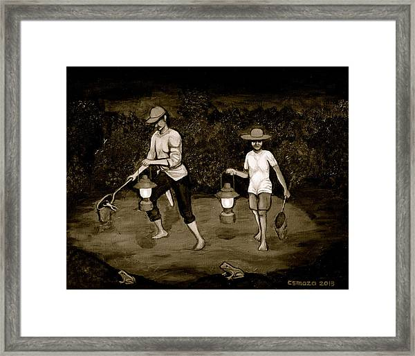 Frog Hunters Black And White Photograph Version Framed Print