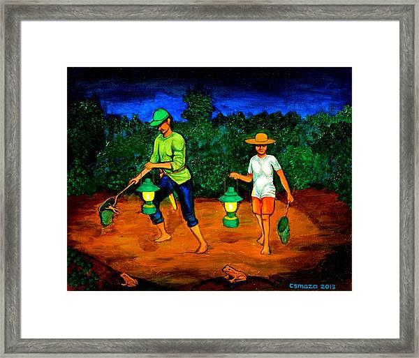 Frog Hunters Framed Print