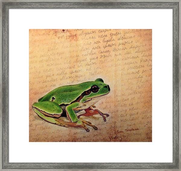 Frog On Paper Framed Print