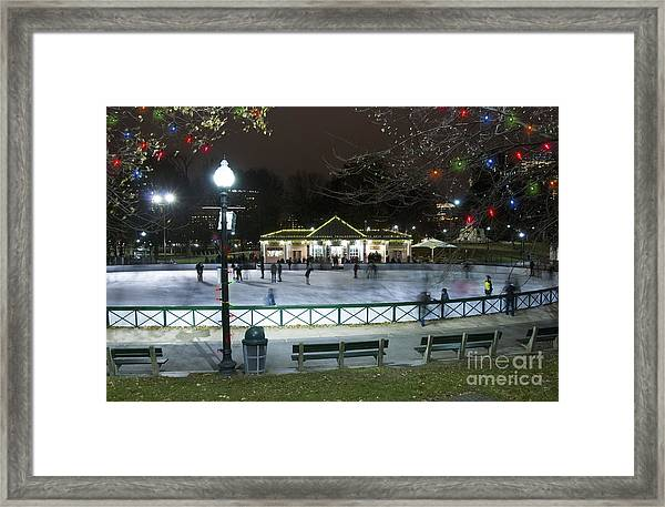 Frog Pond Ice Skating Rink In Boston Commons Framed Print