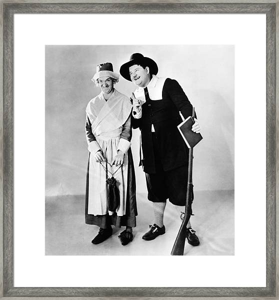 From Left Stan Laurel And Oliver Hardy Framed Print