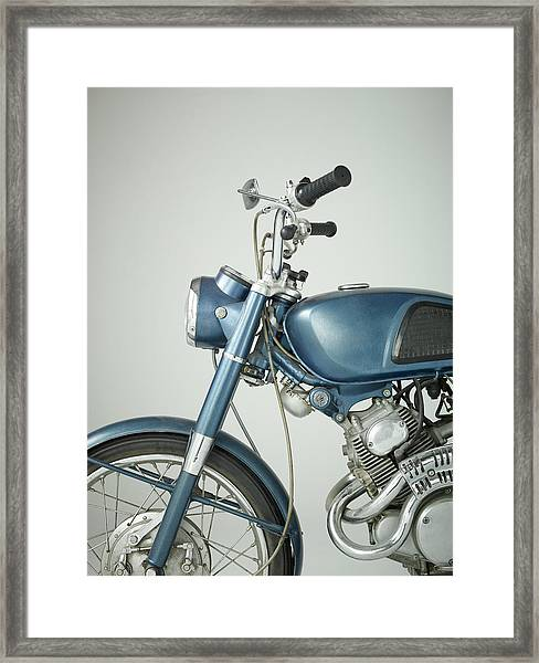 Front Of Vintage Motorcycle In Studio Framed Print