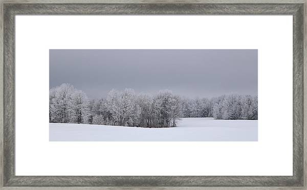 Frosty Farm Fields Framed Print