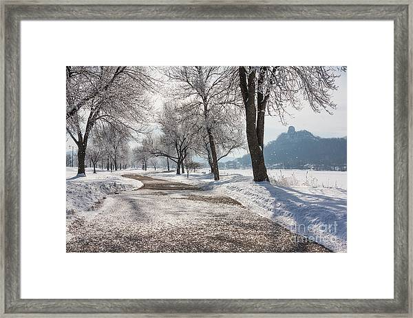 Framed Print featuring the photograph Frosty Stroll With Sugarloaf by Kari Yearous