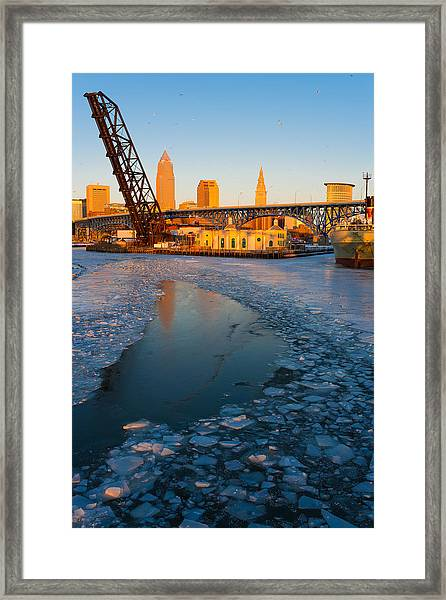 Frozen Cleveland Flats Skyline At Sunset Framed Print