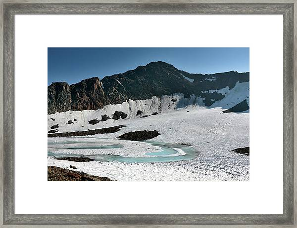 Frozen Mountain Lake Framed Print