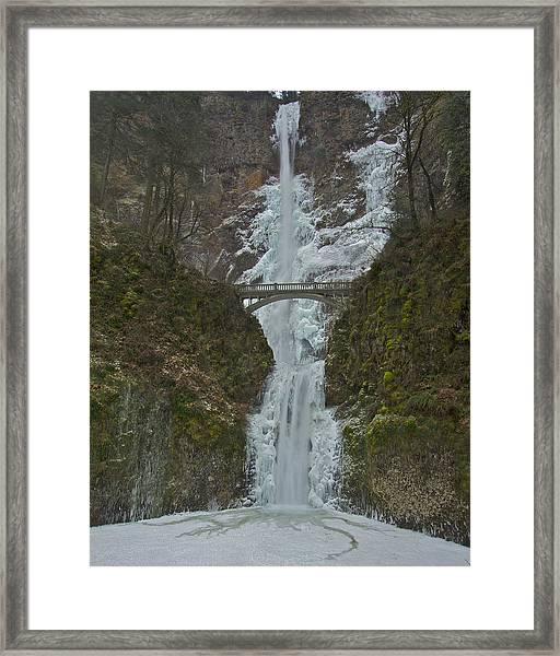 Frozen Multnomah Falls Ffa Framed Print
