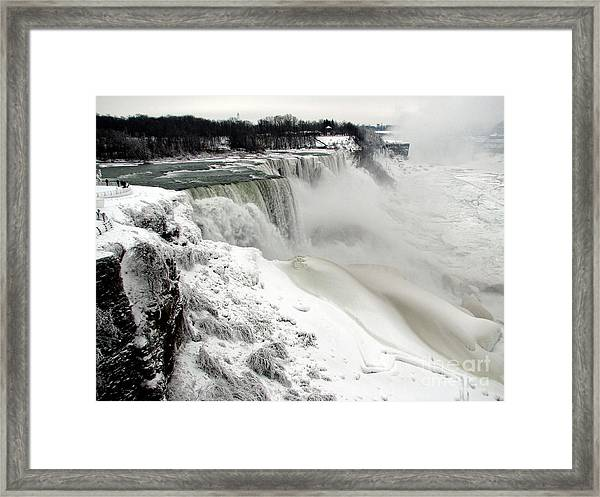 Frozen Niagara And Bridal Veil Falls Framed Print