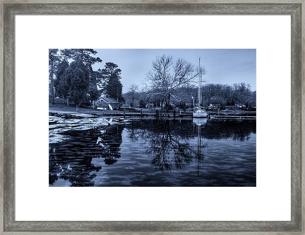 Frozen Sailboat And Cloudy Ice Framed Print