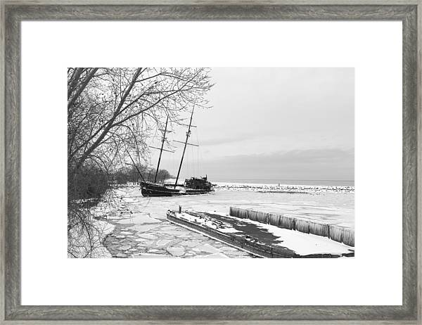 Frozen Tall Ship Framed Print