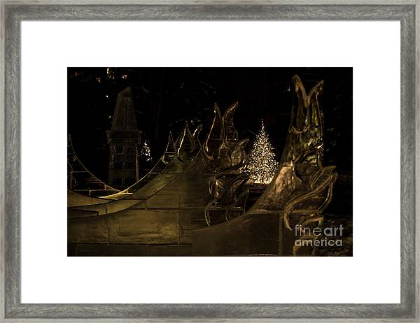 Frozen Waves And Xmas Tree Framed Print