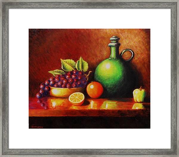 Fruit And Jug Framed Print