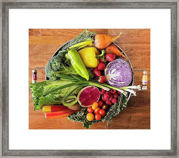 Fruit And Vegetables And Herbs On Tray Framed Print