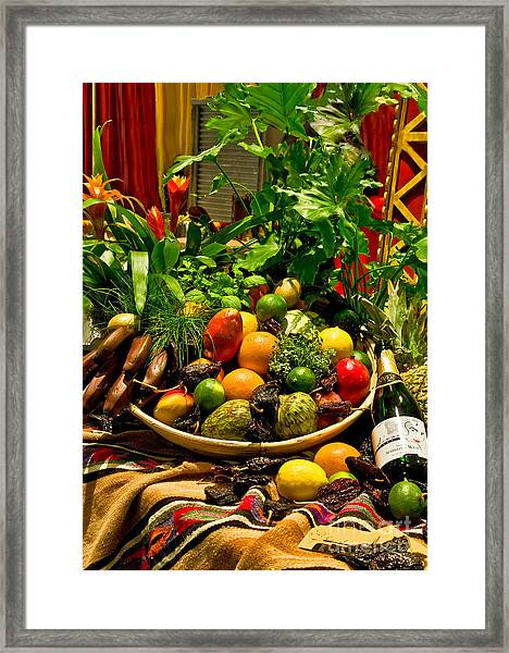 Framed Print featuring the photograph Fruit And Wine by Mae Wertz