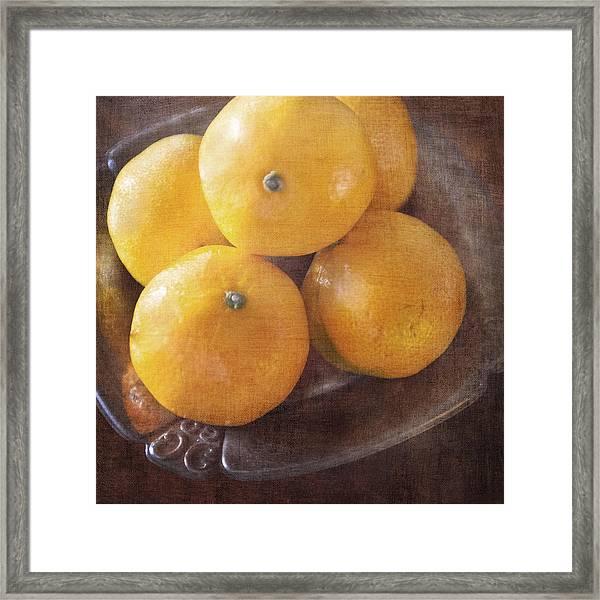 Fruit Still Life Oranges And Antique Silver Framed Print