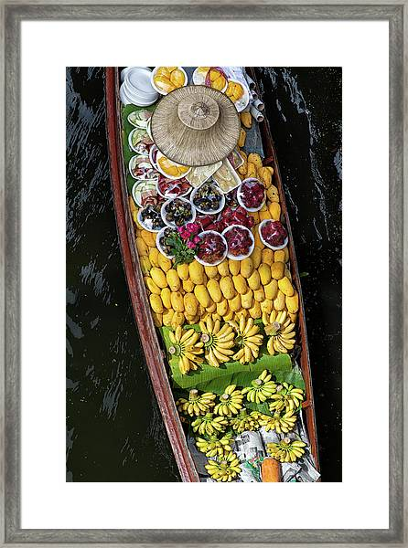 Fruits In A Boat On A Floating Market Framed Print