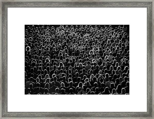 Full Frame Shot Of Crowd At Music Framed Print