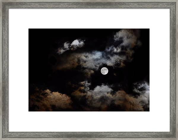 Full Moon After The Storm Framed Print